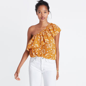 Silk One-Shoulder Top in Assam Floral : | Madewell