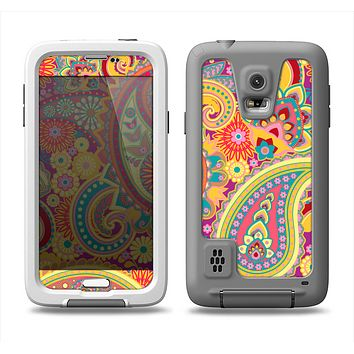 The Neon Orange Paisley Pattern Samsung Galaxy S5 LifeProof Fre Case Skin Set