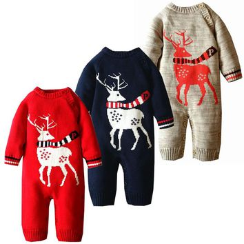Newborn Baby Clothes Winter Crochet Baby Clothing Infant Christmas Outfits Deer Knit Warm Baby Halloween Costumes Winter Romper