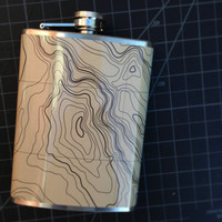 Topographic Map Nature Stainless Steel Hip Flask