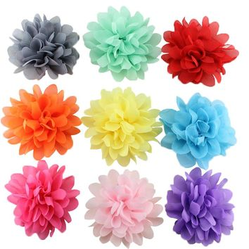 10 pcs/pack Cute   girl hair clips chiffon flower hairpins kids hair accessories