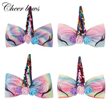 "4 Colors 8 Pcs 6"" Reversible Sequin Unicorn Hair Bow With Clip For Girls Kids Glitter Rainbow Eyelashes Bows Hair Accessories"