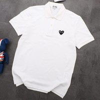 PLAY 2019 new men and women classic embroidery love POLO shirt half sleeve T-shirt White