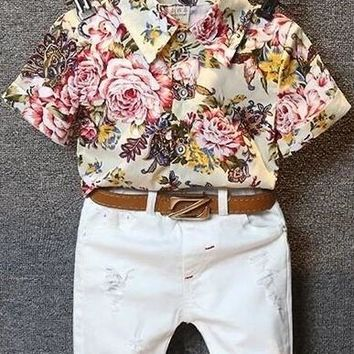 Boys Floral T-Shirt + Ripped Jeans