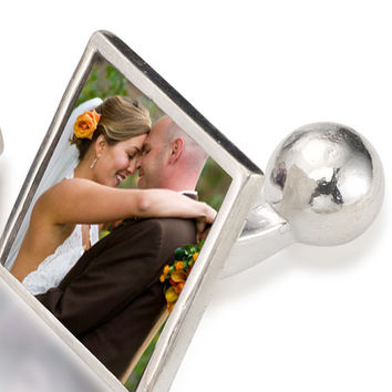 Wedding Custom Photo Cufflinks - Sterling Silver, Waterproof - Handmade, Finest Quality
