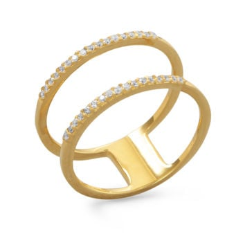 18 Karat Gold Plated Double Row Cubic Zirconia Ring
