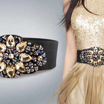 Hot sale 2016 Belts Women Beautiful Crystal Buckle Women's Fashion Belt , elastic fabric + PU + imitation diamond inlay , WS90