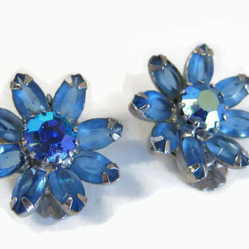 Weiss Earrings Blue Rhinestone Clip On Star Burst Silver Pronged Set
