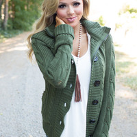 Girl Next Door Hooded Knit Sweater Olive