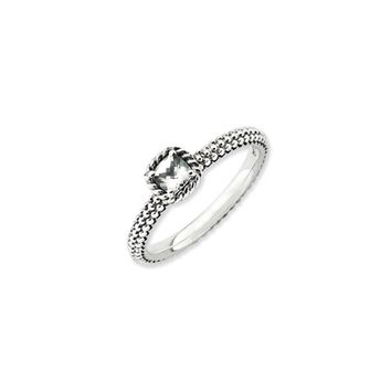 Antiqued Sterling Silver Stackable White Topaz Ring