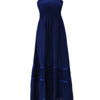 Sleeveless Ruffled Strap Empire Maxi Dress