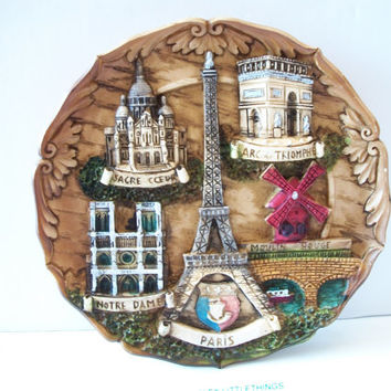 France Souvenir Plaque French Plate Wall Decor