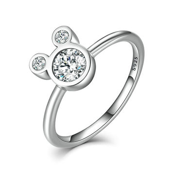 Authentic Mickey Finger Ring 100% 925 Sterling Silver With Clear CZ Woman Fine Rings Compatible with pan Jewelry