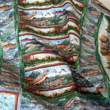 Lap Quilt with Fish Among the River Rocks and Fall Scene w/ Island