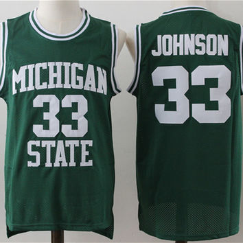 Michigan State basketball jersey 33 Magic Johnson jerseys men's Cheap Embroidery sewing