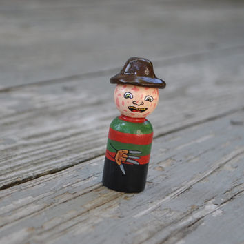 Freddy Krueger Nightmare on Elm Street Doll- Hand painted peg doll