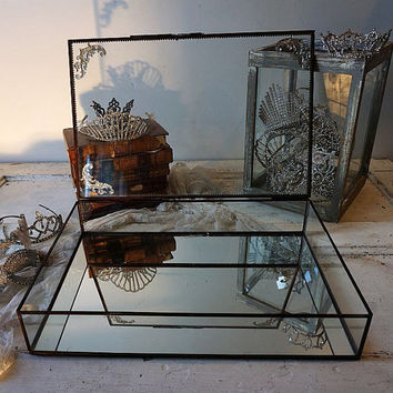 Vintage glass display case mirrored bottom shabby cottage chic elegant showcase adorned metal and rhinestones home decor anita spero design