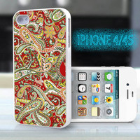 unique iphone case,glitter i phone 4 4s case,cool cute iphone4 iphone4s case,stylish  plastic rubber cases, indian yellow red floral , ZB10