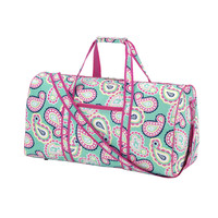 Beautiful Mint Paisley with Pink Leather Like Trim Duffel Bag-Available Blank or Personalized!