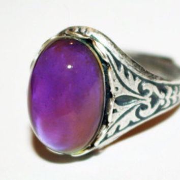 Mood Ring Sterling  Silver Plated Antique  Finish, Adjustable Cocktail Statement Wedding