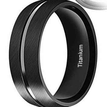 CERTIFIED 8mm Men's Black Titanium Carbide Polished Finish Grooved Center Ring