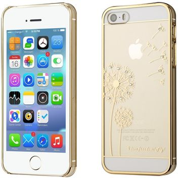 Darin clear transparant Hard case for Apple iPhone 5 / 5S . phone case for apply iphone 5 with Dandelion design -gold