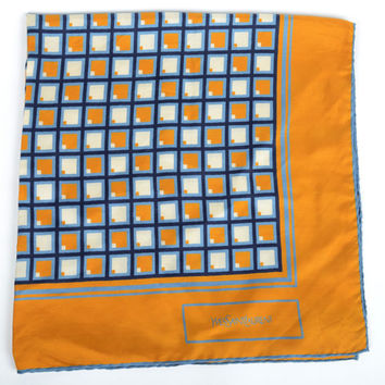 Vintage Yves Saint Laurent Silk Scarf with Blue, Yellow, and White Squares