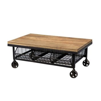 Modern Industrial Iron & Natural Hardwood Artisan Crafted Coffee Table with Castors/Wheels & 3 Drawers