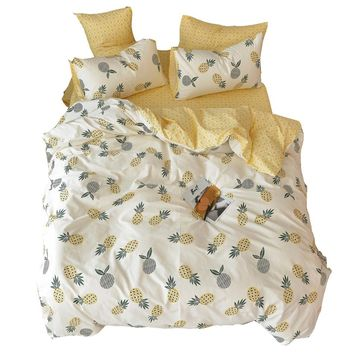 100% Cotton Yellow Duvet Cover with Pineapple Pattern