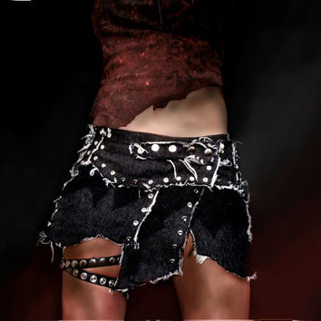 Road Warrior tattered and studded post apocalypse survivor low waist dark gray denim mini skirt