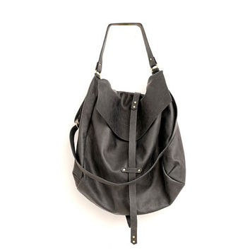 Large Black Leather Hobo Bag For Women Handmade Slouchy Oversiz