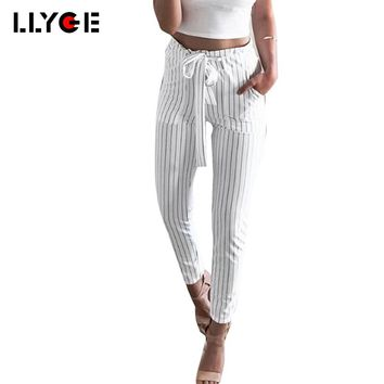 LLYGE Women Harem Pants 2018 OL Chiffon High Waist Bow Tie Drawstring Sweet Elastic Waist Trousers Casual Pockets Pantalon Femme