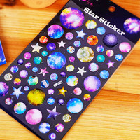 Purple Planet Galaxy Stickers Universe Stars Sticker Planner Diary Stickers DIY Album Scrapbook Deco