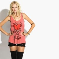 Obey - Women's Keith Haring Heart Slouchy Tank (Mineral Red)