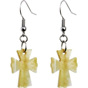 Mother of Pearl Cross Shell Earrings