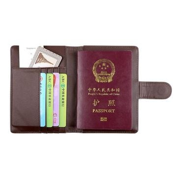 Fashion Hot Women Men Brown Leather Travel Passport Holder Cover ID Card Bag Passport Wallet Passport Cover  Protective Sleeve