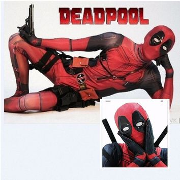 Deadpool Dead pool Taco HOT Avengers Halloween Lycra Spandex Full Body Adult  Cosplay Costume Men Second Skin Tights Suit Lycra Zentai Bodysuit AT_70_6