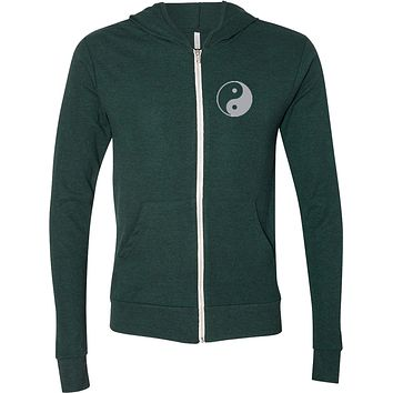 Yin Yang Pocket Print Triblend Full-Zip Hoodie Yoga Tee
