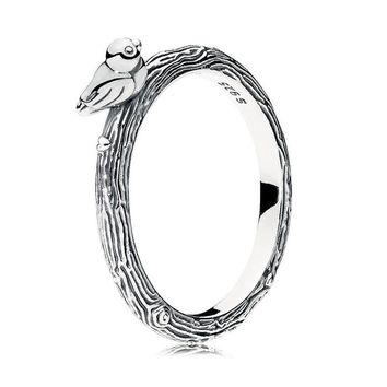 925 Sterling Silver Women Ring Spring Bird Ring Girl Finger Ring Plain Simple Style fit Lady Jewelry