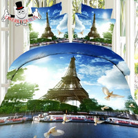 Paris Eiffel Tower Scenic Bedding Set and Quilt Cover