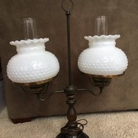 Wonderful duel bell Milk Glass Lamp