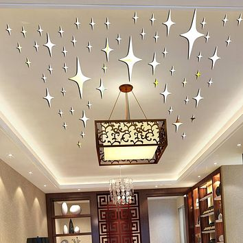 50 Pieces Pack Star Shape 3D Acrylic Wall Stickers Living Room Bed Room Ceiling Mirror Wall Sticker Home Decoration P17