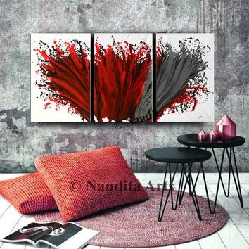 """Painting,  Red Modern Wall Art Contemporary Home or Office Decor Framed Triptych Canvas Art by Nandita albright 72""""x36""""(183x91cm)"""