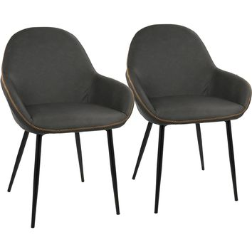Clubhouse Dining Chairs with Grey Vintage PU Leather, Black (Set of 2)