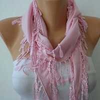 Pink Scarf -  Pashmina Scarf  -  Cowl with Lace Edge