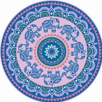 DCCKUNT Ethnic Elephant Print Round Beach Blanket Towel In Blue & Pink