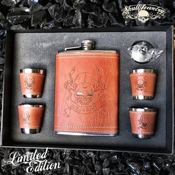 Limited Edition Leather 'Skull & Bones' Flask & Shot Glass Set (M0999)