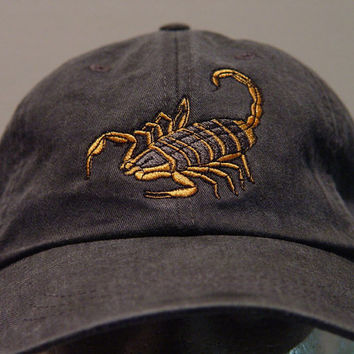 dd1c1e55b64 SCORPION WILDLIFE Hat - One Embroidered Men Women Arachnid Cap - Price  Embroidery Apparel - 24