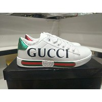 """Gucci"" Unisex Casual Fashion Multicolor Stripe Letter Print Small White Shoes Couple Plate Shoes Sneakers"