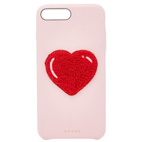 M'O Exclusive Embroidered Chenille Heart Leather iPhone X Case | Moda Operandi